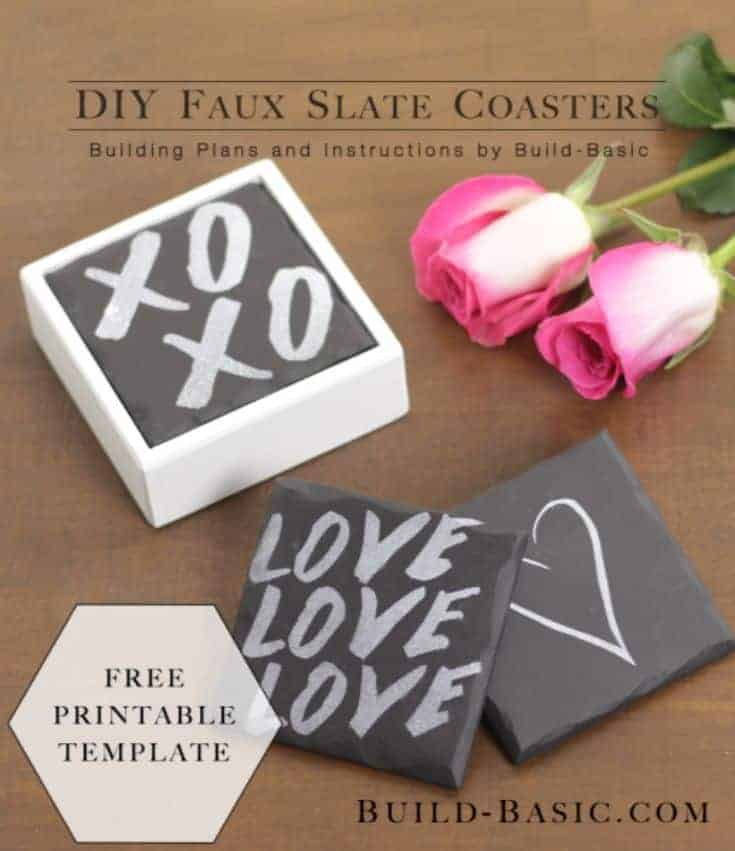 coasters with love written on it, heart and XO and roses on the side